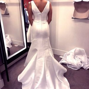 Sleeveless Fit Flare Ivory Wedding Gown